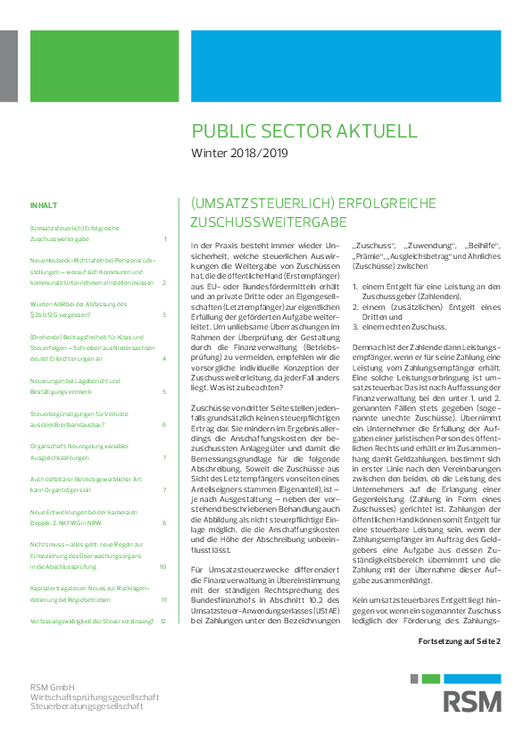 Public Sector aktuell | Winter 2018/2019